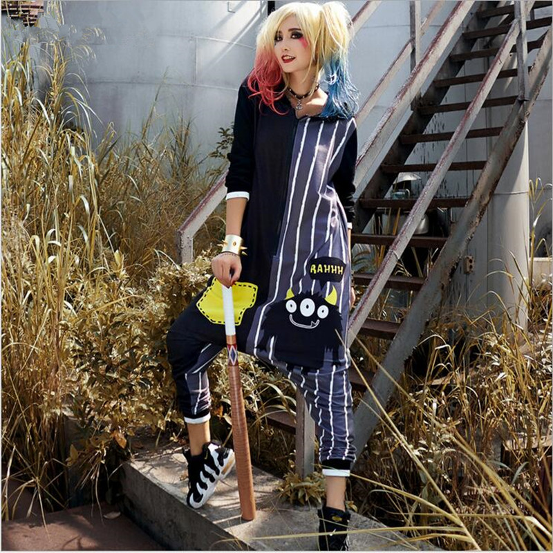 2018 New Women Jumpsuits Overalls Playsuits Hooded Long Pants Hip Hop Dance Harem Pants Trousers Stitching Jumpsuit