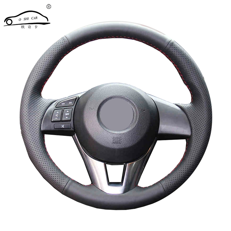 Artificial Leather car steering wheel braid for  Mazda 3 Axela  Mazda 6 Atenza 2014 2017 Mazda 2 2015/Custom made Steering cover-in Steering Covers from Automobiles & Motorcycles