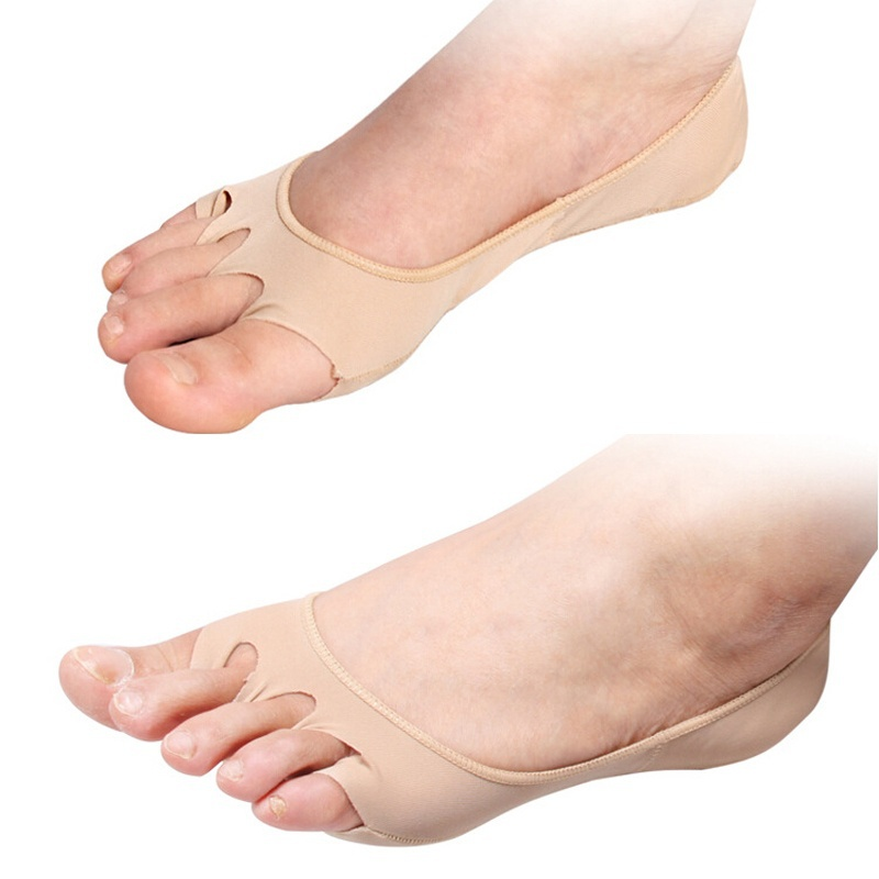 New 1Pair Massage Socks Women Khaki Black Five Fingers Toes Socks Breathable Foot Care / Toes Five Invisible Socks ...