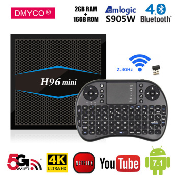 Android 7.1 TV Box H96mini Amlogic S905W Quad Core H.265 2G RAM DDR3 16G Smart TV Box 5Ghz WiFi Bluetooth4.0 4K Mini Set Top Box