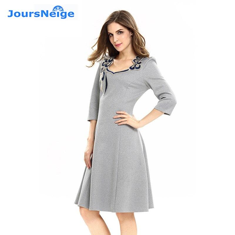 Vestido de una línea de retazos de bordado de nueva moda para mujer - Ropa de mujer - foto 2