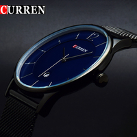 2016 CURREN Men Clock Man Watches Luxury Brand Black Men Watch Full Steel Fashion Casual Male