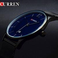 2016 CURREN Men Clock Man Watches Luxury Brand Black Men Watch Full Steel Fashion Casual Male