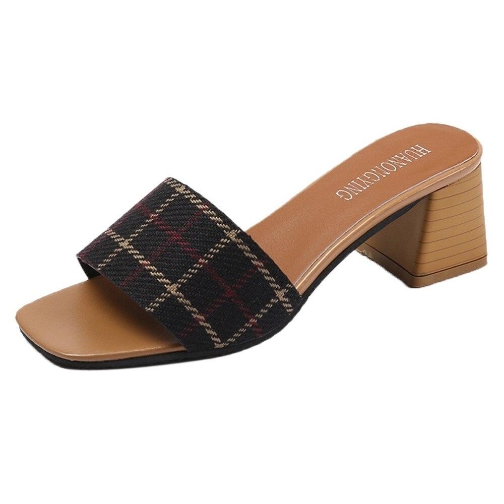 Women Stripe Lattice Slippers Fashion High Heels Sandals Bohemia Flip Flop Shoes Summer Open Toe 2018 Fashion Casual slippers