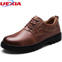 UEXIA Leather Casual Shoes Men Fashion Wedding Retro Oxfords Breathable Black High Top Lace Up High