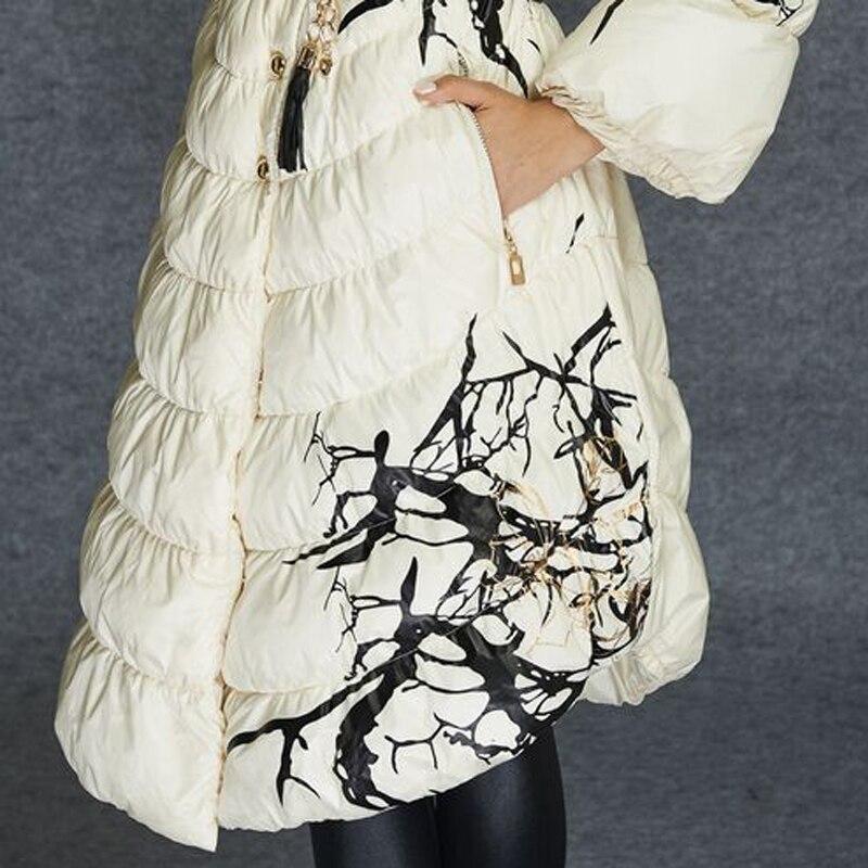 Mode Parka Parkas Haute Manteau Qualité Femmes De Avec Blanc Européenne Poche Veste Imprimé Canard Designer Duvet Pour 2018 Longue Hiver gqEO4