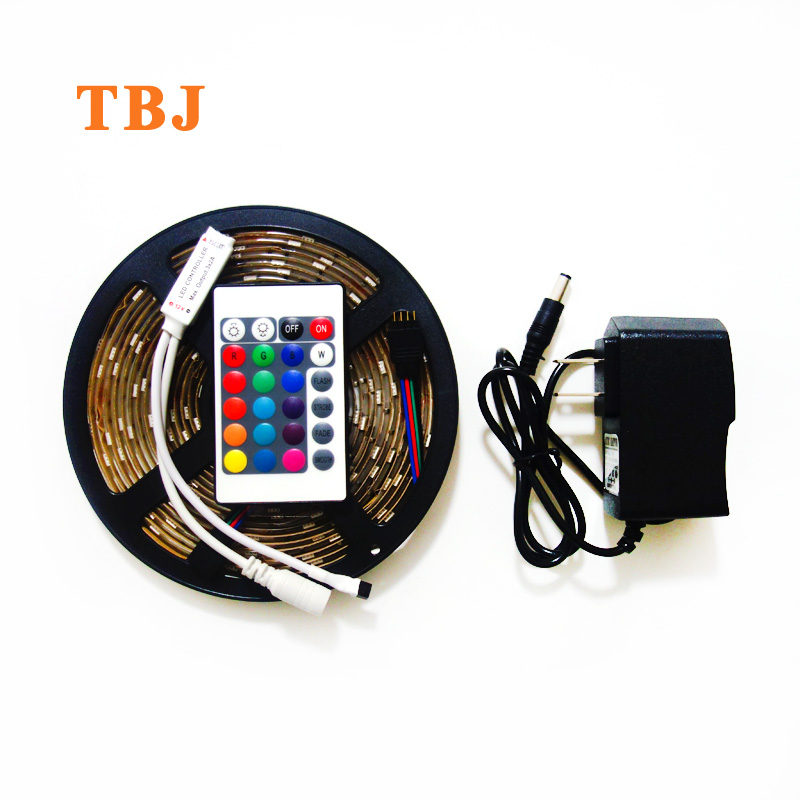 5M RGB 5050 30led/m 150LED ip65 waterproof / Non-waterproof LED Strip light + mini 24Key IR controller + 3A power supply