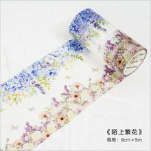 90mm Blossoming Floral flowers Season Plants Time Memory Decoration Washi Tape DIY Planner Scarpbooking Masking Tape Escolar