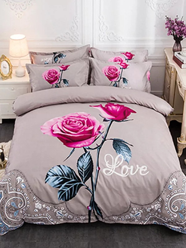 Rose Bedding Set Queen King Size Printed Bed Linen Duvet Covers Set 4pcsRose Bedding Set Queen King Size Printed Bed Linen Duvet Covers Set 4pcs
