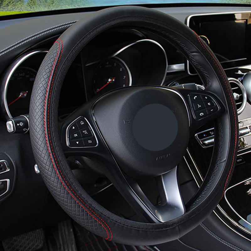 New Car Steering Wheel Cover Artificial Leather Elastic Skidproof Auto Steering- Wheel Embossing Leather Over Car-styling(China)