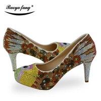 Шампанское Для женщин свадебные туфли на высоком каблуке обувь на платформе с круглым носком Роскошная обувь с украшением в виде кристалло