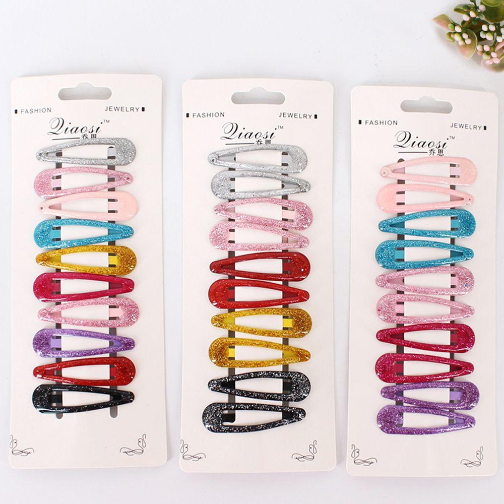 10pcs Snap Hair Clip Glitter Hairpins for Children Kids Hair Clip Pins for Baby Girls Hair Accessories Cute Metal Barrettes 5cm