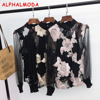 ALPHALMODA 2017 Autumn Women Long Sleeve 3D Flower Sweet Lace Blouses Mesh Hollow Perspective Ladies Sexy