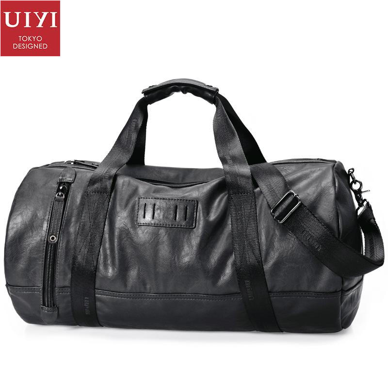 UIYI Design PU Leather Handbag Men Messenger Shoulder Tote Laptop Bag Black 14'' Fashion Travel Cylinder Bucket Bags 140007
