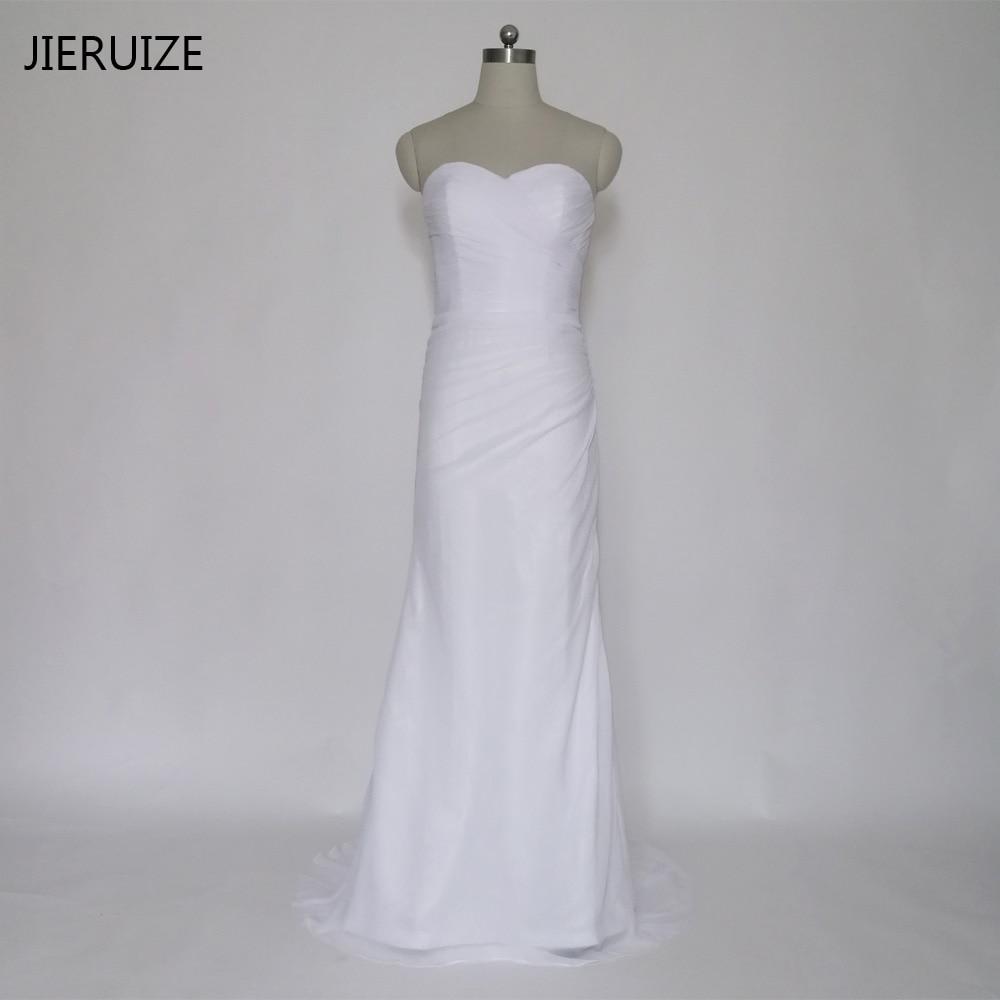 JIERUIZE ogrinjalo za poroko Beli šifon Sladka morska deklica - Poročne obleke