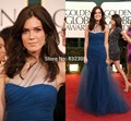 Glamorous vestido de festa One Shoulder Trumpet Ruched Tulle Long Blue Celebrity Dress