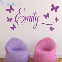 Personalised Name Princess 7Butterflies Baby Girl Wall Decal Nursery Vinyl Sticker Decor Children Room Decor Wall