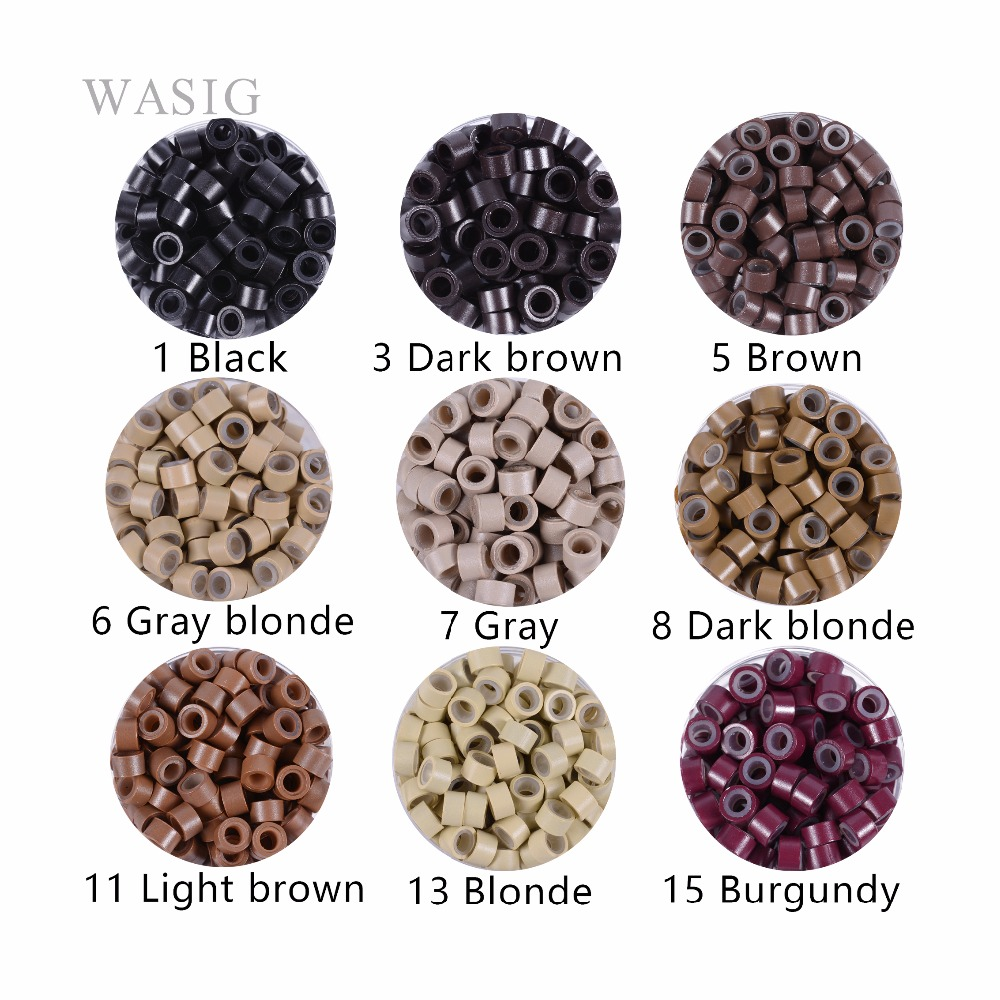 1000 Pcs 5mm Silicon Lined Micro Links Rings Beads Hair Feather Extensions 5# Brown . 9 Colors Optional