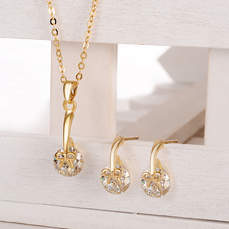 Lovely Bowknot Round Austrian Crystal Gold Womens Jewellery Set For Women With Colored Stones Jewelry Sets Of African