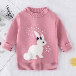 Image 4 - 2019 inverno outono da criança menina camisola de manga longa quente bebê meninas camisola crianças roupas meninas pulôver topo 2 4 anos coelho