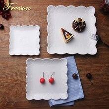 Краткое белое тиснение керамические тарелки обеденная тарелка Кондитерские фруктовые блюда для тортов фарфоровые блюда для бифштекса поднос посуда столовая посуда