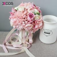Xcos Pink Species Of Orchid Rose Wedding Flowers Bridal Bouquet 2018 New Artificial Bridesmaid Bouquets Bride ramos de novia