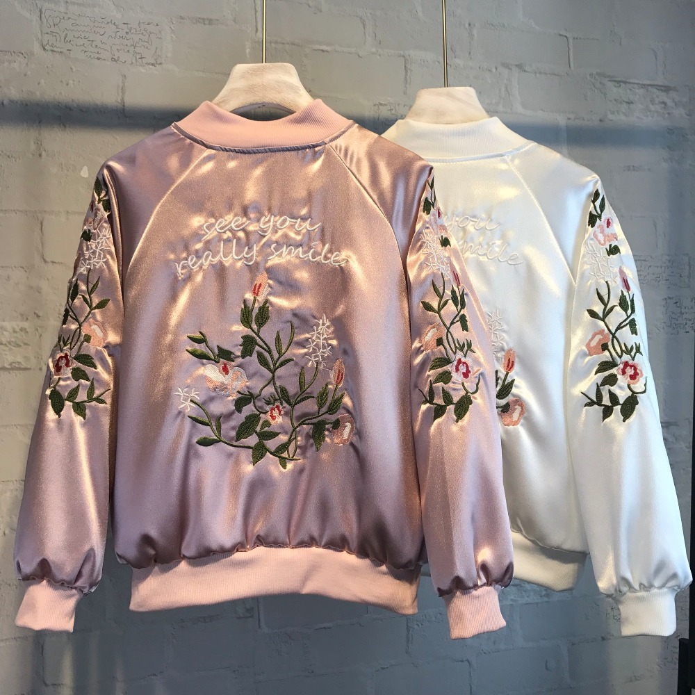 2017 Women Embroidery Jacket Brand Tops Flower Print Girl Plus Size Casual baseball Sweatshirt Bomber Long Sleeves Coat Jackets