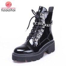 90d0e5f42 FizaiZifai женские ботильоны на высоком каблуке Зимние на шнуровке  Лакированная кожа женская обувь на платформе дизайнерские гот.