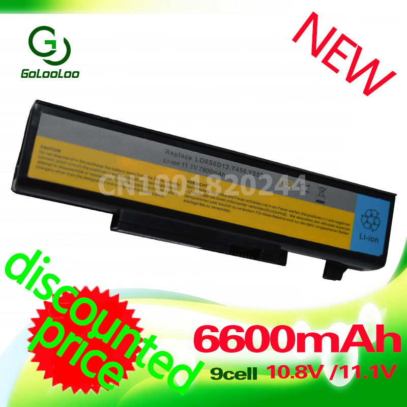 Golooloo 6600 mah Batterie d'ordinateur portable Pour Lenovo IdeaPad Y450A Y450G Y550 Y550A Y550 Y550P Y550P 55Y2054 L08L6D13 L08O6D13 L08S6D13