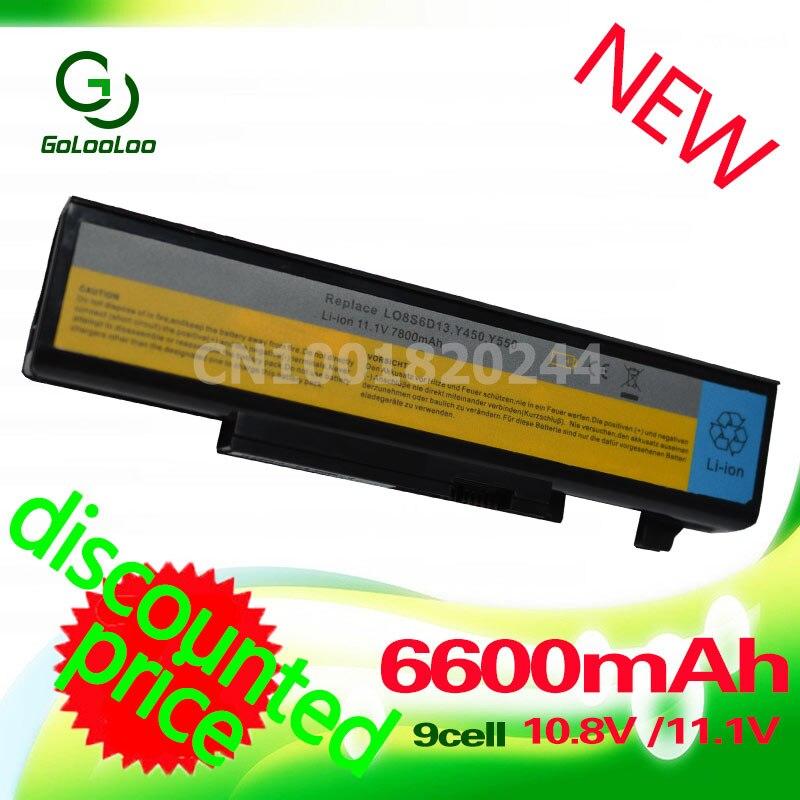 Golooloo 6600mAh laptop Battery For Lenovo IdeaPad Y450A Y450G Y550 Y550A Y550 Y550P Y550P 55Y2054 L08L6D13 L08O6D13 L08S6D13