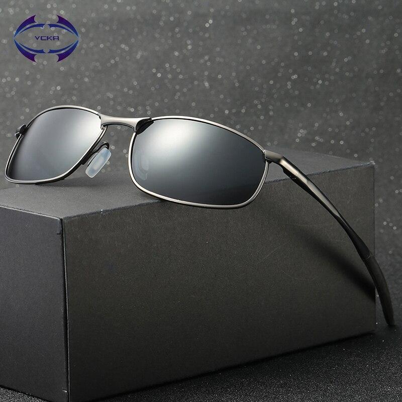 Vcka óculos de sol polarizados marca designer retângulo retângulo óculos de sol de condução dos homens óculos de sol uv400