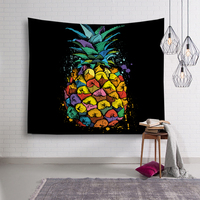 Negro estilo piña cuadro Tapices pared colgante Bohemia Toalla de playa impresa Yoga Esterillas hippie Ropa de cama Home Art fruta Tapices