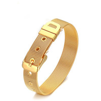 Fashion Link Watch Band Chain Bracelets 10 13 18mm Silver Gold Stainless Steel Cable Mesh Chain