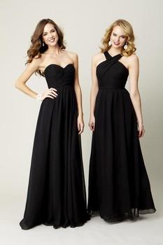 Enchanting Sexy Black Bridesmaid Dresses Simple Cheap Halter Mixed Long Prom Dress Floor Length Chiffon Maid Of Honor DressWD37