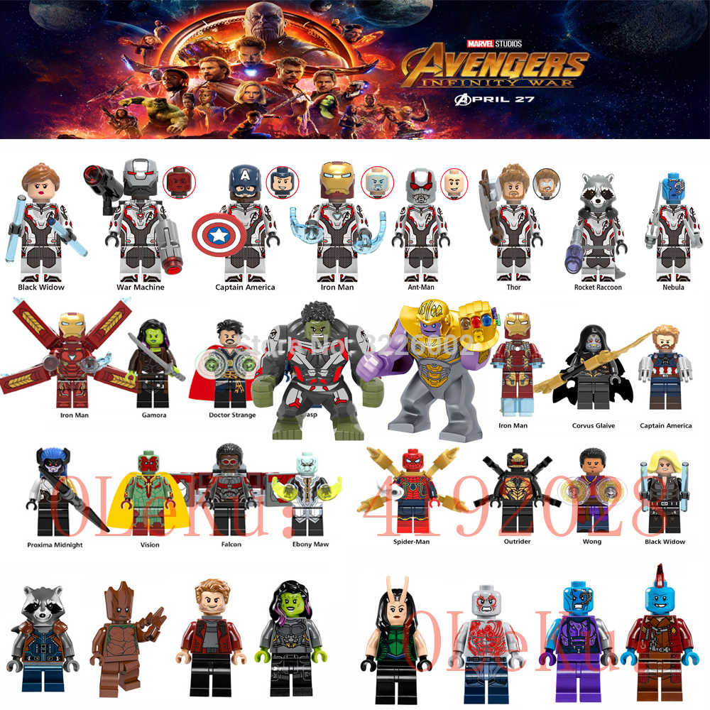 Loki Marvel Avengers Endgame Infinity War Super Heroes Thanos Spider Iron man Doctor Strange Model Building Blocks Toys Figures