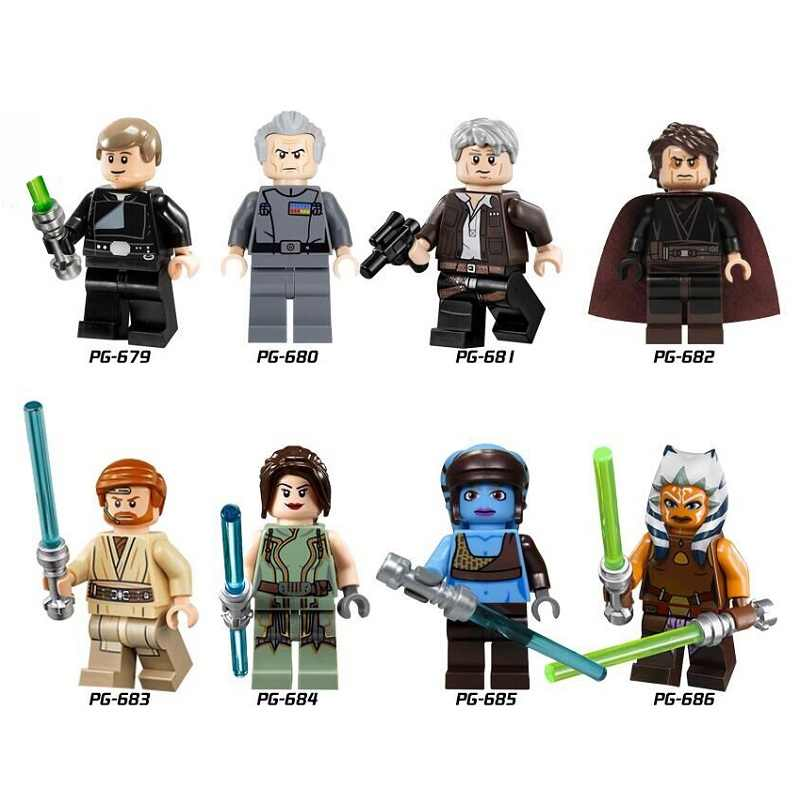 Single Sale Star Wars Luke Skywalker Qui-Gon Jinn Death Star Robot Mace Windu Princess Leia Building Blocks Children Toys