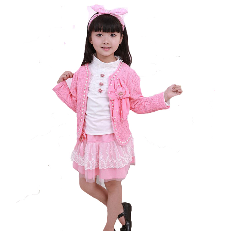 2017 new baby girl clothing set pink flower coat+white t shirt+lace skirt 3pcs kids girls clothing sets autumn cute girl clothes retail design children clothing set for kids girl dark blue cardigan t shirt pink skirt high quality 2014 new free shipping