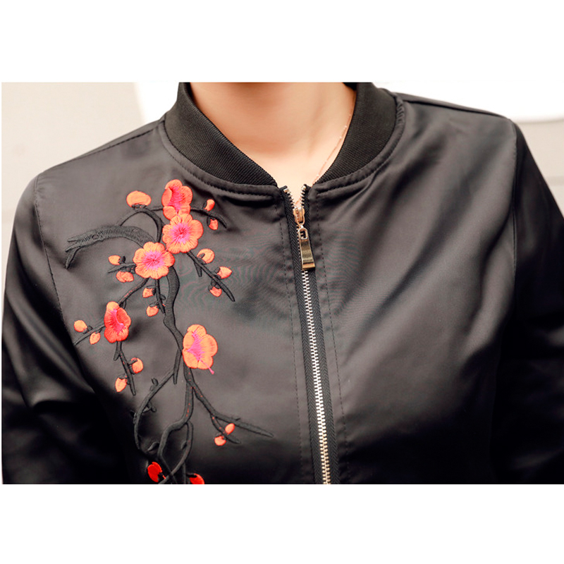 Femmes Fleur army Harajuku Veste Qazxsw 2017 Nouvelles Noir Floral Broderie Manteau Couleur Yx8812 Pilotes grey Black Bomber Survêtement Green Contraste WqwEwBYU