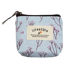 Women's Handbags Girl love Pastoral Floral canvas Small Purse Zip Wallet Lady Coin Case Bag Handbag Key Card Holder Clutch Bag
