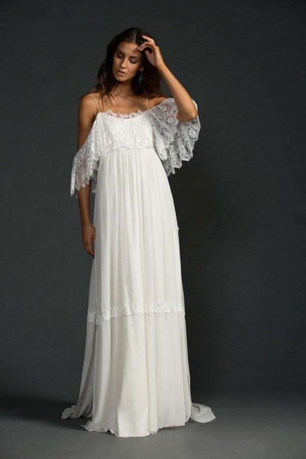 Greek style boho bohemian wedding dresses spaghetti straps for Bohemian white wedding dress