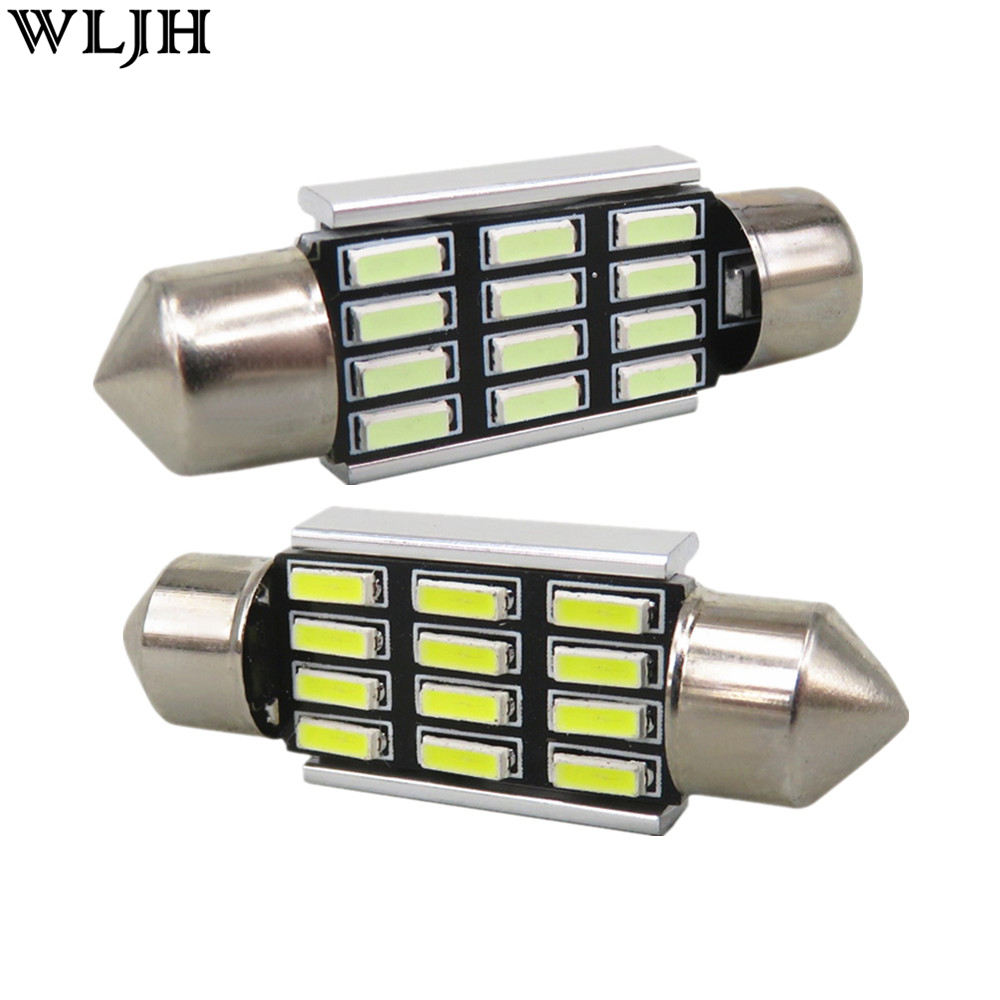 WLJH 4x Canbus 38mm 39mm 4014 SMD LED Auto Lamp Bulb Car Light Bulb Glove Box Dome Truck Light Courtesy for Ford Focus 2000-2011