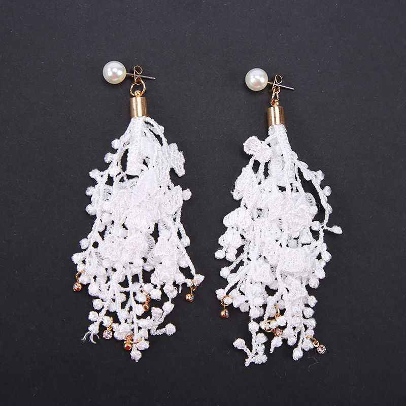 Lace Drop Earrings Crystal Fashion Jewelry boucle d'oreille Long Tassel Simulated Pearls Earring Women Dangle Brincos