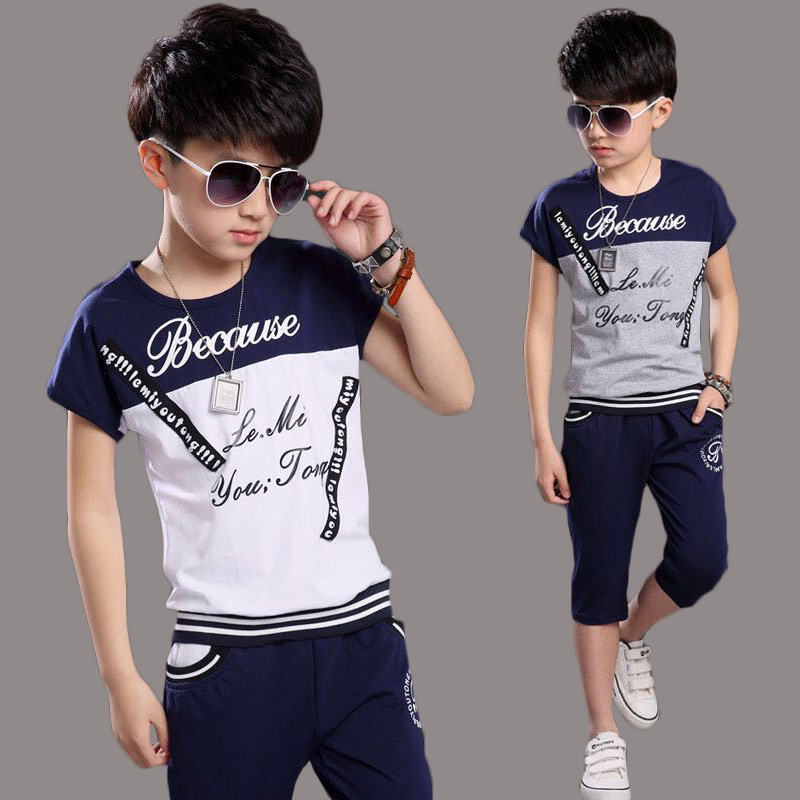 Hot The Child's Summer Boys Letter Suit New Kids Clothes Sports Sets Sailing Short Sleeved T-shirt+pants 4-14 Ages Free Shipping 2016 summer boys short sleeved t shirt two piece children s sports suit camouflage uniforms boys
