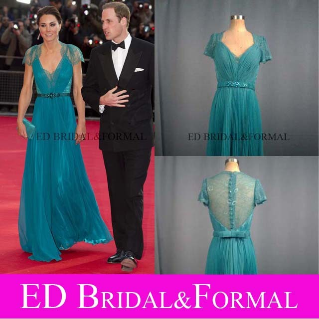 Kate Middleton Teal Lace Dress  Evening Prom Pageant Gown London Olympic Gala