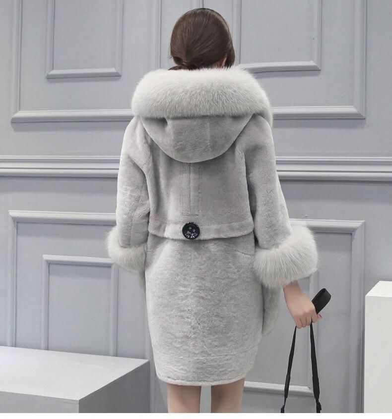 Imitation Capuchon Manteau 4xl gris Rouge Femmes Fausse De À Veste Col S Clobee En Haute Moyen Faux Fourrure 2018 D'hiver long xq4nqFwOX