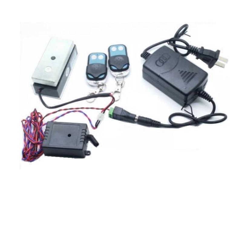 100 фунтов 12 В / 24 В мини дверной магнитный замок + 315 МГц пульт дистанционного управления для магнитного замка шкафчик ящик для системы контроля доступа