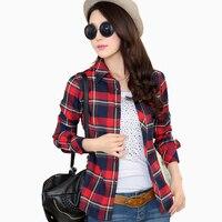 2015 New Long Sleeve Women S Plaid Shirt Cotton Plus Size Women Tops Leisure Blouses Fashion