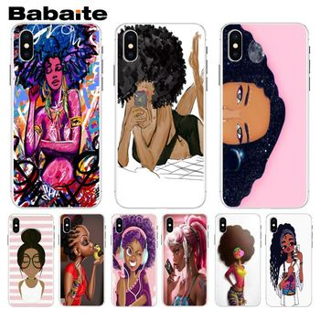 Babaite Melanin Poppin Aba Fashion Black Girl Top Design Phone Case For iphone 5 5s 5c SE And 6 6s 7 7plus 8 8plus Phone Case image
