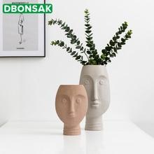 Nordic Ceramic Face Vases Ins White Art Craft Human Vase for Flower Home Garden Decor Succulent Pot Modern Style