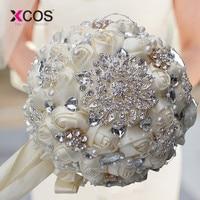 XCOS 1Piece Elegant Custom Ivory Bridal Wedding Bouquets Stunning Pearls Beaded Crystal Brooch Stitch Wedding Bouquets